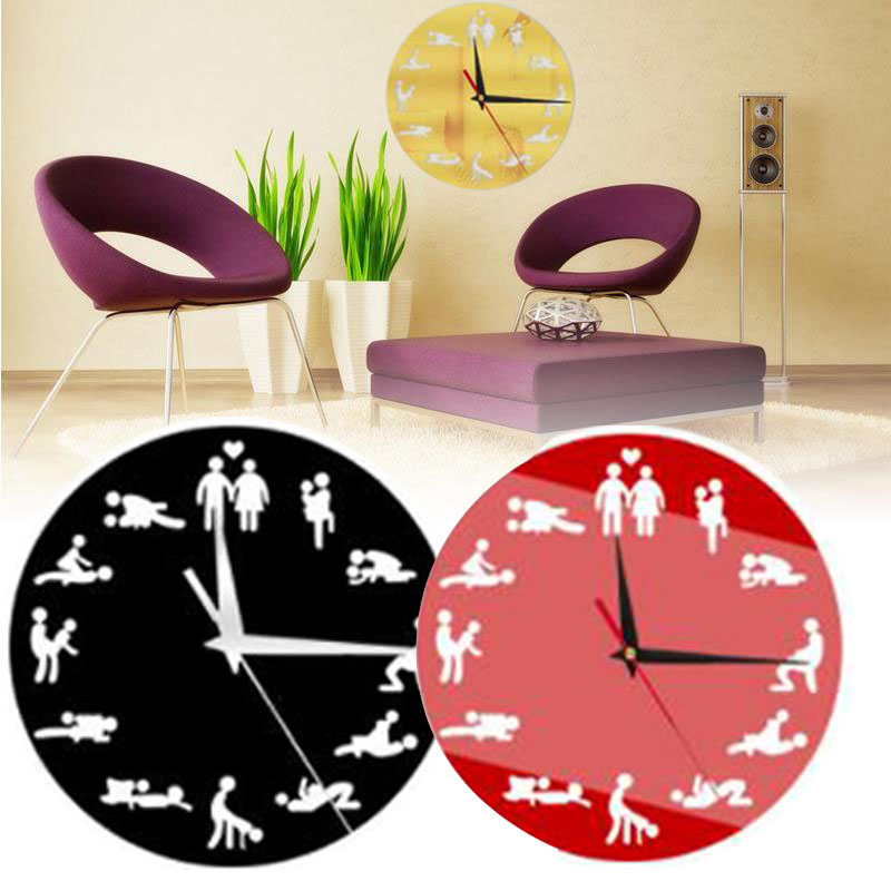 Sexual Fun <font><b>Sex</b></font> Posture Wall Clock Fashion Couple Home Decor <font><b>Watch</b></font> Gift image