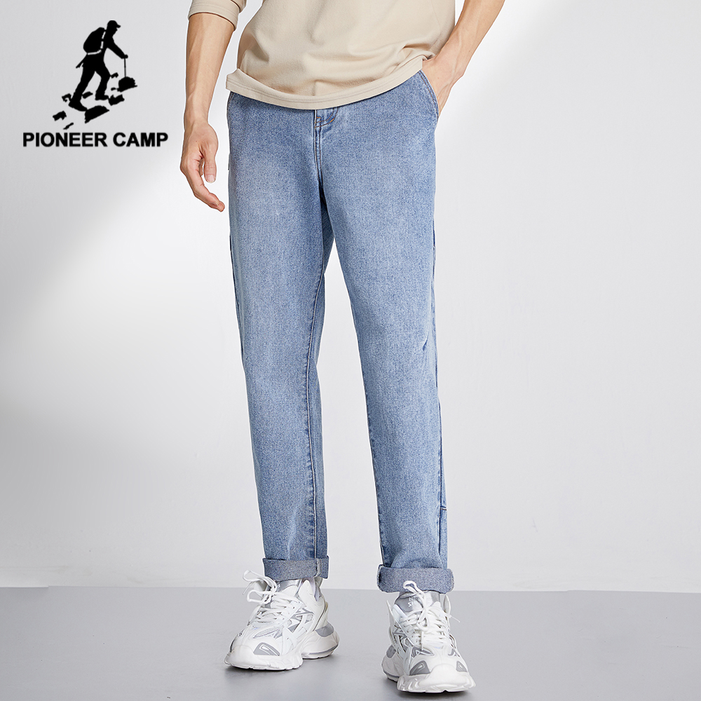 Pioneer Camp 2020 Light Blue Jeans Men Straight Casual Pants Plus Size Cotton Denim Trousers for Male XNZ001017