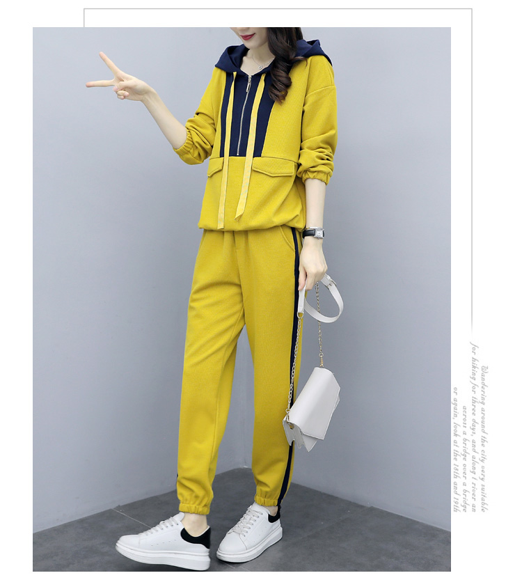 Plus Size Yellow Sport Two Piece Outfits Sets Tracksuits Women Hooded Sweatshirt And Pants Suits Casual Fashion Korean Sets 2019 36