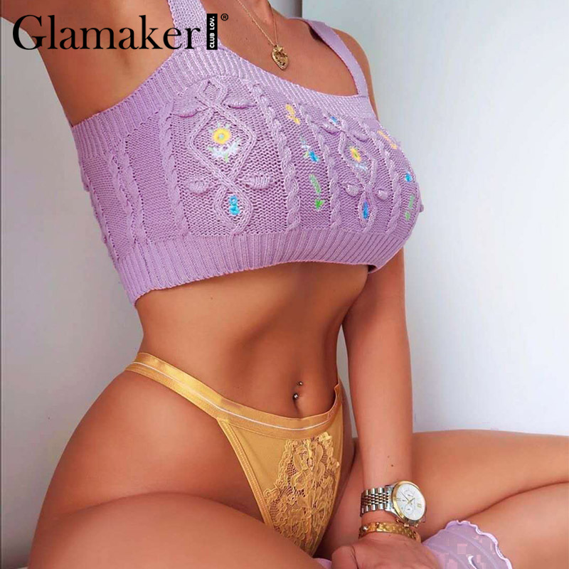 Glamaker Purple knitted <font><b>sexy</b></font> vintage <font><b>crop</b></font> <font><b>top</b></font> 2020 women fashion floral <font><b>crochet</b></font> summer cami tank <font><b>top</b></font> female spaghetti strap <font><b>top</b></font> image
