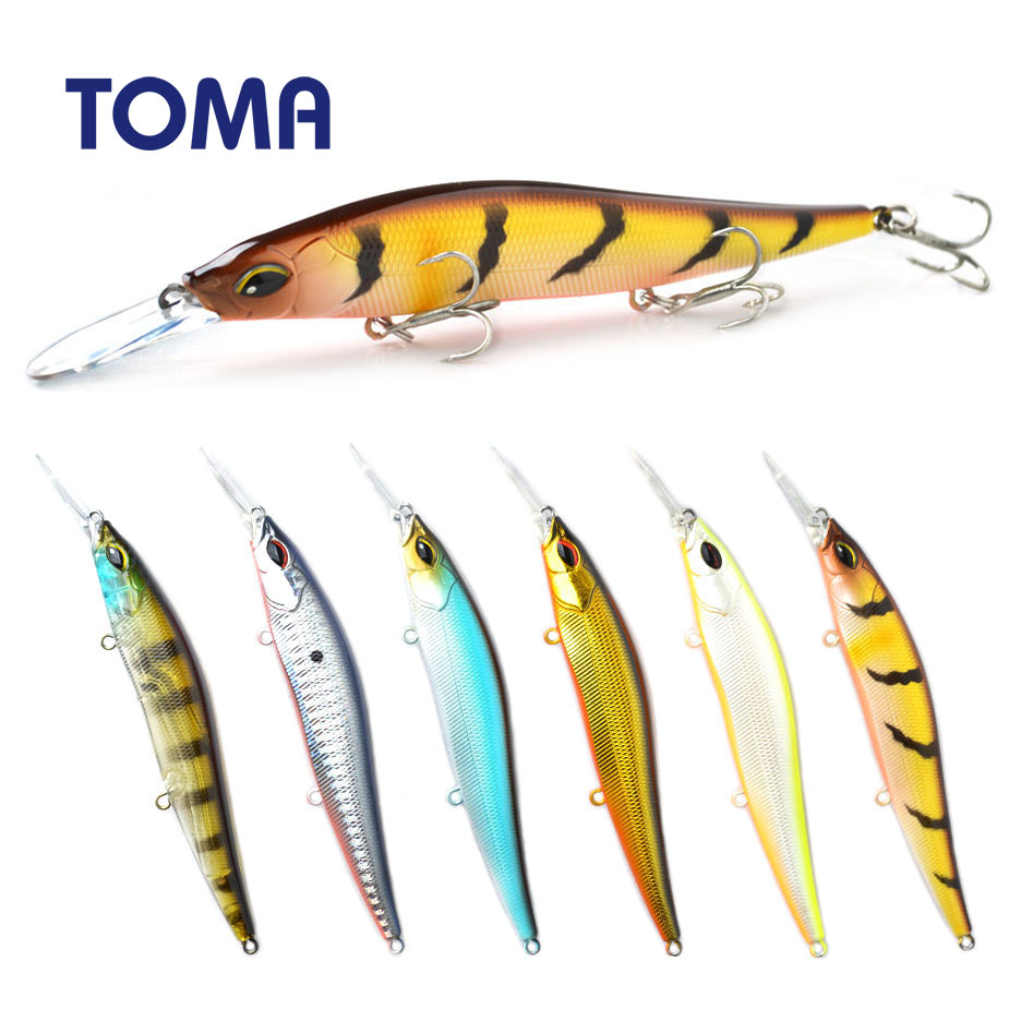 TOMA Wobbler Fishing Lure Minnow Crankbait 110mm 15g Suspend Floating Hard Plastic Artificial Bass Bait Fishing Tackle