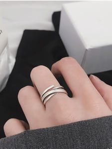 Rings for Finger Jewelry Multi-Layer Women Gifts Geometric Adjustable Silver-Color Vintage
