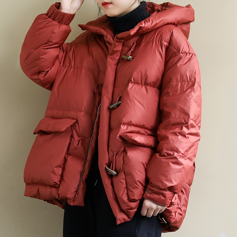 New Winter 90% White Duck Down Parka Hooded Horn Button Loose Bread Down Jacket Thickness Warm Female Snow Overcoat