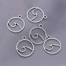 Charms-Pendants Diy-Accessories Craft Jewelry Making Wave Handmade Silver-Plated Antique