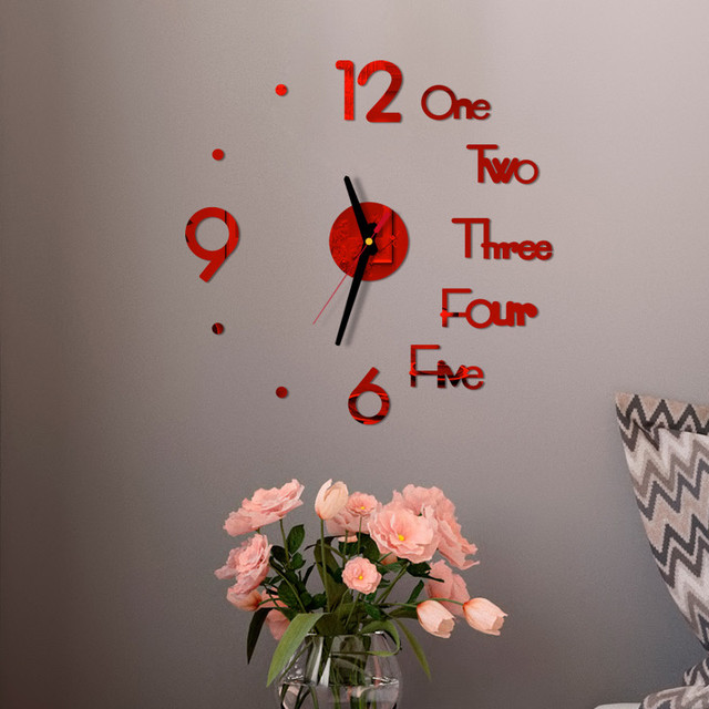 DIY Creative Wall Clock Modern Design Decorative 3D Acrylic Mirror Surface Sticker HomeLiving Room Office Decor Wallclock 20#27 2