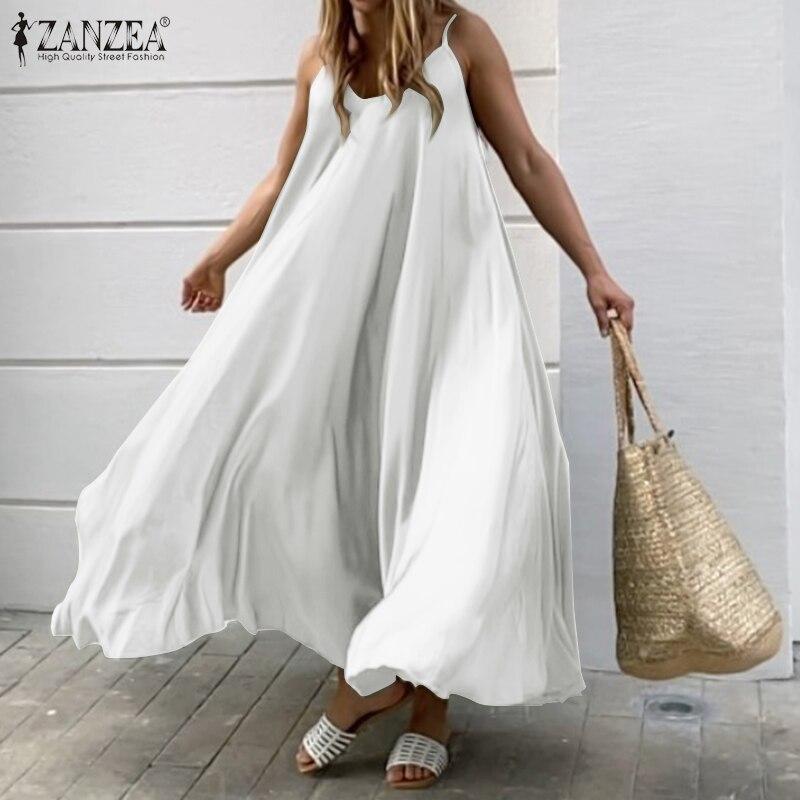 2020 ZANZEA Women Summer Dress Big Swing A Line Dresses Holiday Beach Sundress Sexy Sleeveless Solid Vestidos Party Robe Femme