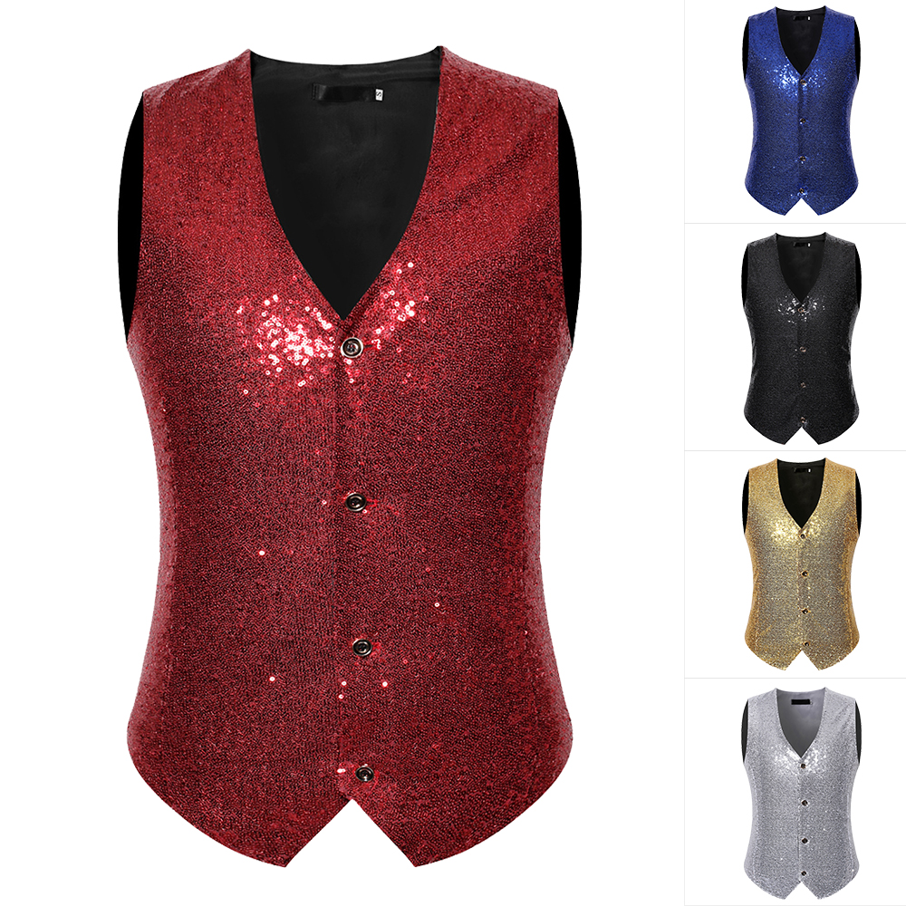 Men's Slim Fit Shiny Sequins Vest Waistcoat Party Stage Suit Vest 2020 Fashion Stage Cconsumedgory Costume Cocktail Vest