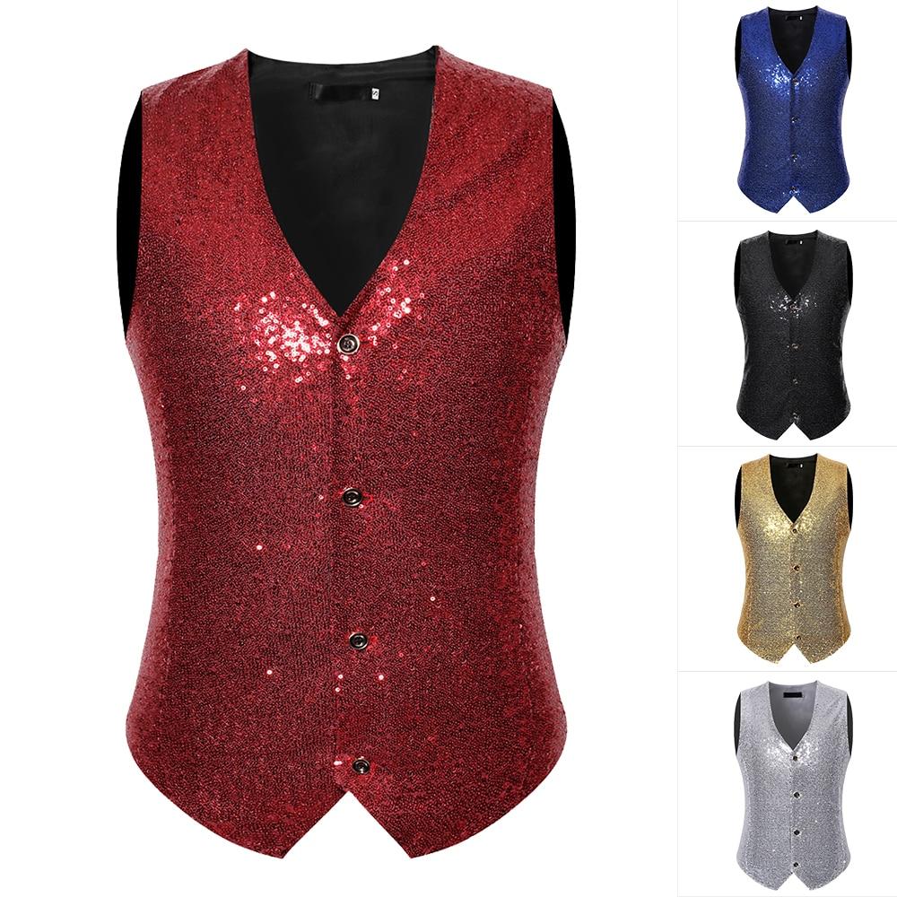 Men's Slim Fit Shiny Sequins Vest Waistcoat Party Stage Suit Vest 2020 Fashion Stage Cconsumedgory Costume Cocktail Vest