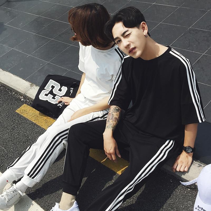 2019 Summer Wear New Style Couples Sports Set Korean-style Teenager Half-sleeve Shirt T-shirt Thin Set Business Attire