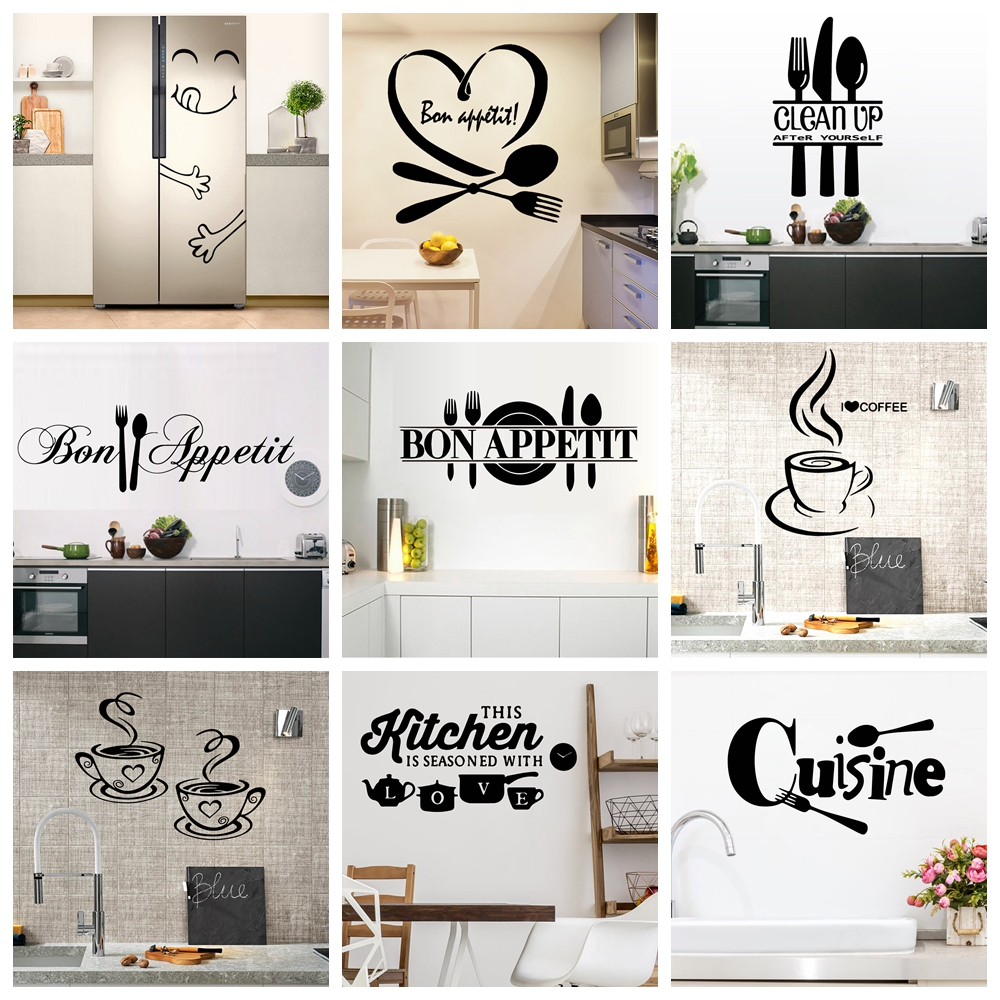 22 Styles Large Kitchen Wall Sticker Home Decor Decals Vinyl Stickers For House Decoration Accessories Mural Wallpaper Poster