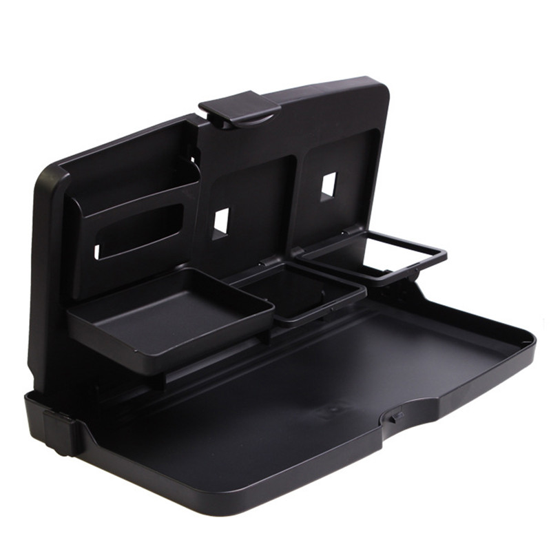 Image 4 - Universal Car Cup Holder Organizer Car Front Seat Back Table Drinks Folding Cup Holder Stand Desk Black Trays-in Drinks Holders from Automobiles & Motorcycles