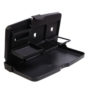 Image 4 - Universal Car Cup Holder Organizer Car Front Seat Back Table Drinks Folding Cup Holder Stand Desk Black Trays