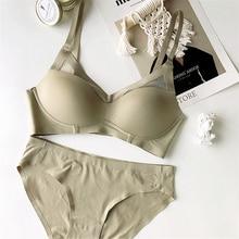 Conjunto de lingerie sem costura, conjunto de lingerie sem arame, roupa íntima simples, sexy, básica, triangular, plus size, bralette e breve