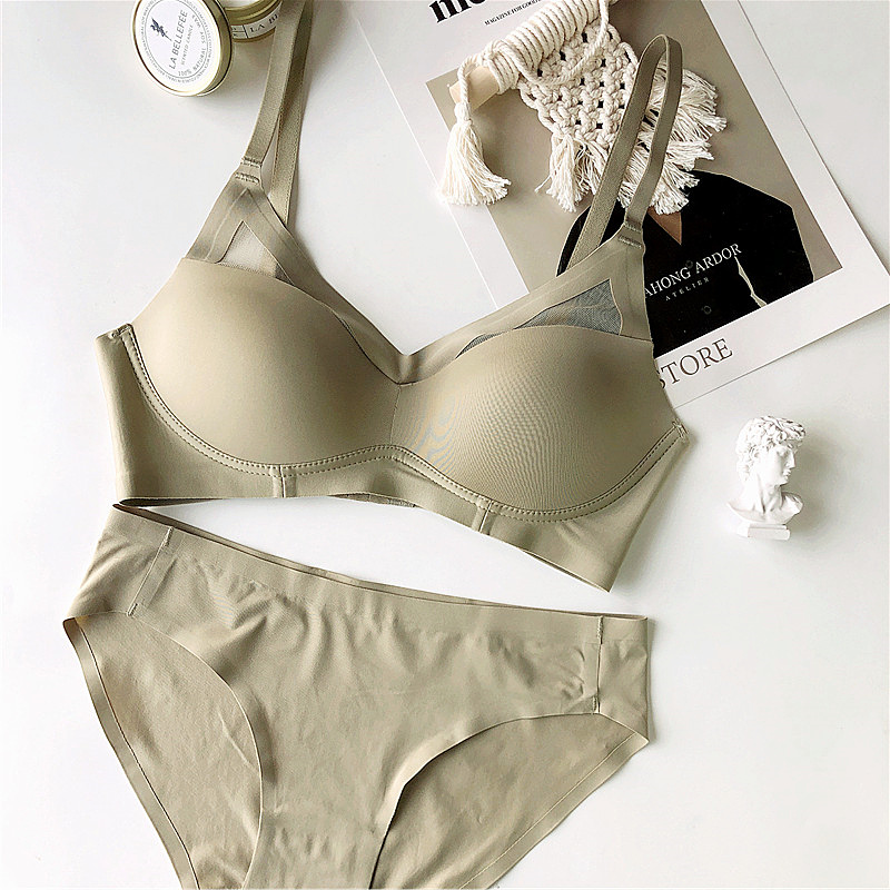 Wriufred Seamless Gathering Lingerie Set Wire Free Simple Underwear Set Sexy Basic Triangle Cup Bra Plus Size Bralette And Brief