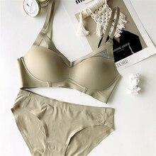 Wriufred ensemble de lingerie sans couture, sans fil, simple, sexy, culotte basique, bonnet triangle, culotte grande taille, ensemble de sous vêtements