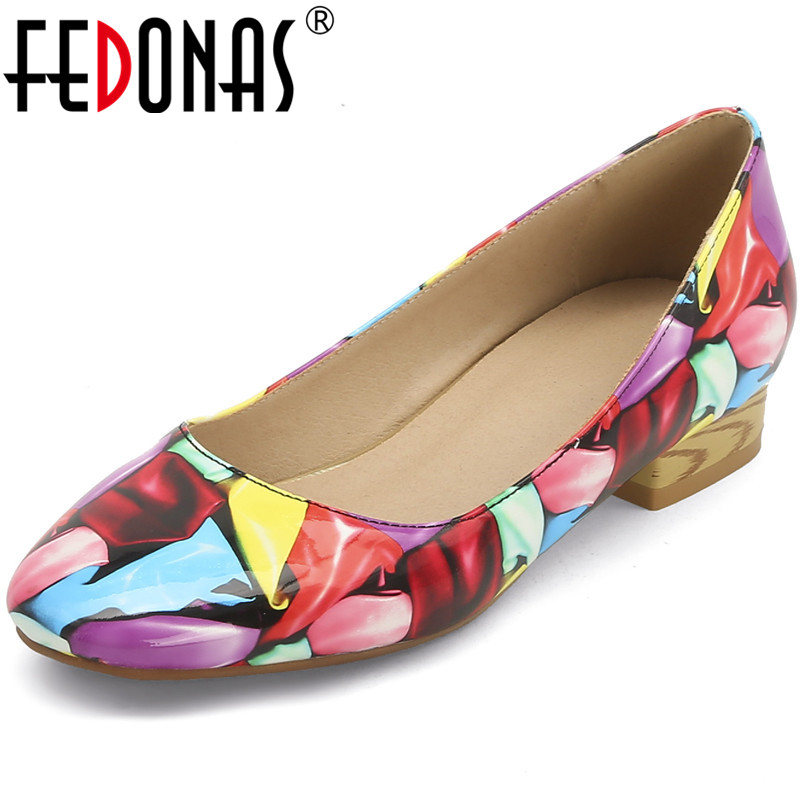FEDONAS Women Colorful Square Heels Pumps Folk-Custom Concise Spring Summer 2020 Basic Shoes Woman Round Toe New Shoes Woman