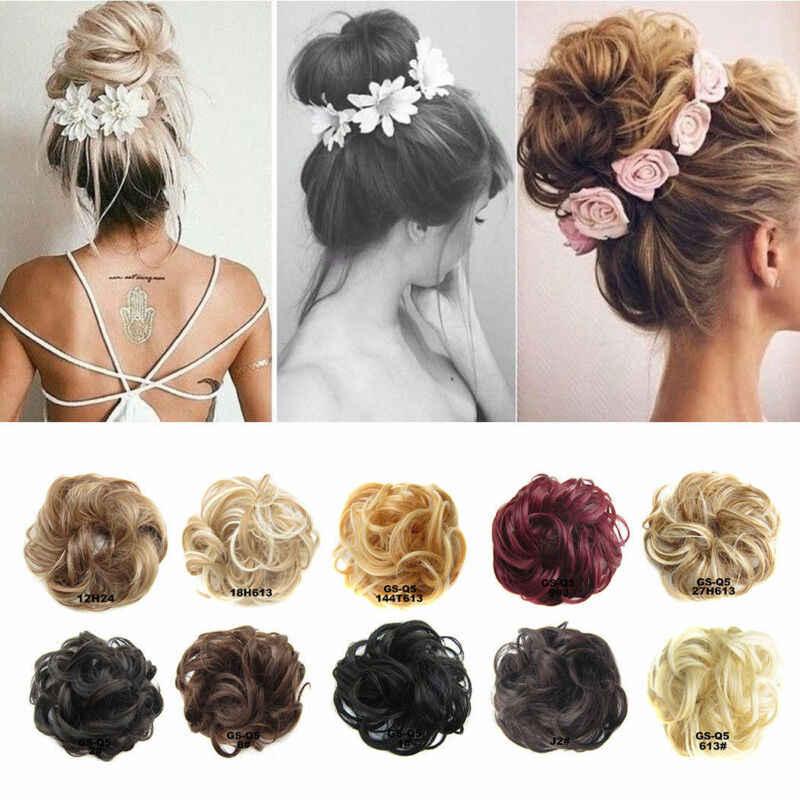 Hotsale 10 kleuren Vrouwen Meisjes Echt Menselijk Natuurlijke Krullend Messy Bun Haarstuk Chouchou Fake Hair Extensions Hoofddeksels Hoofdband Nieuwe