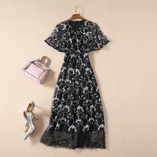 Najnowszy wysokiej jakości 2021 Fashion Designer damski elegancki rękaw motyl czarny koronkowy haft biały kwiatowy sukienka połowy łydki tanie tanio Jest (pochodzenie) Lato Poliester COTTON A-LINE Osób w wieku 18-35 lat BL2047210 O-neck Krótki Butterfly rękawem Koronki