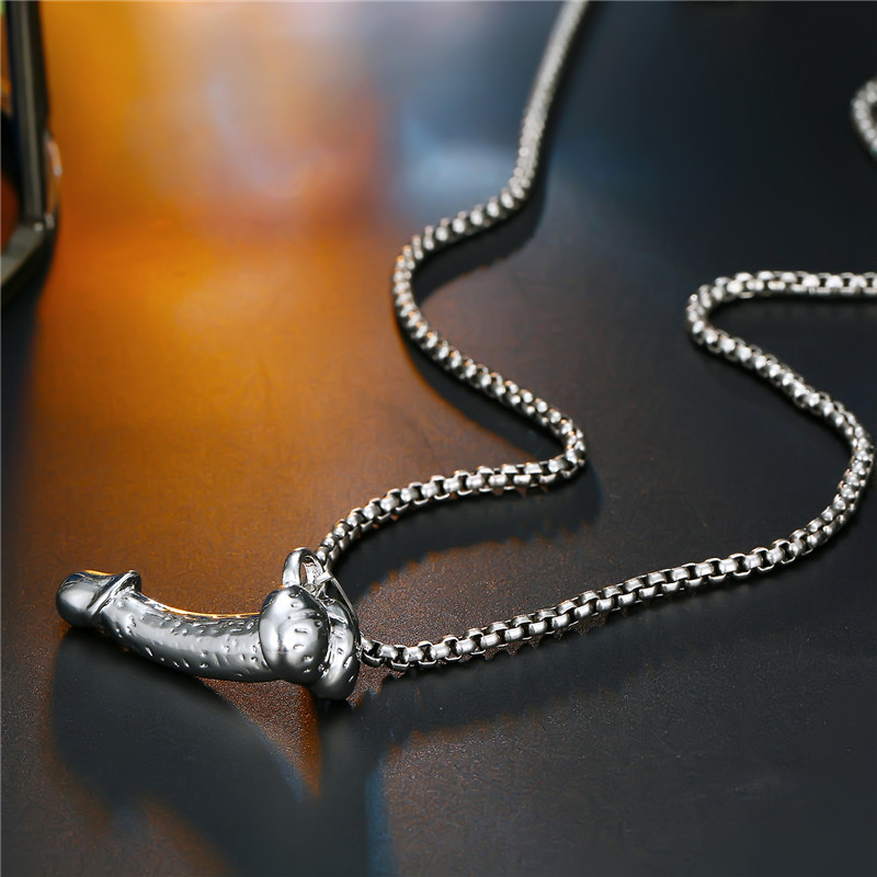 1PC Appeal Funny Male Organ Pendant Necklace For Women Punk Strange Silver Color Men Genital Necklaces Party Jewelry Gifts N73