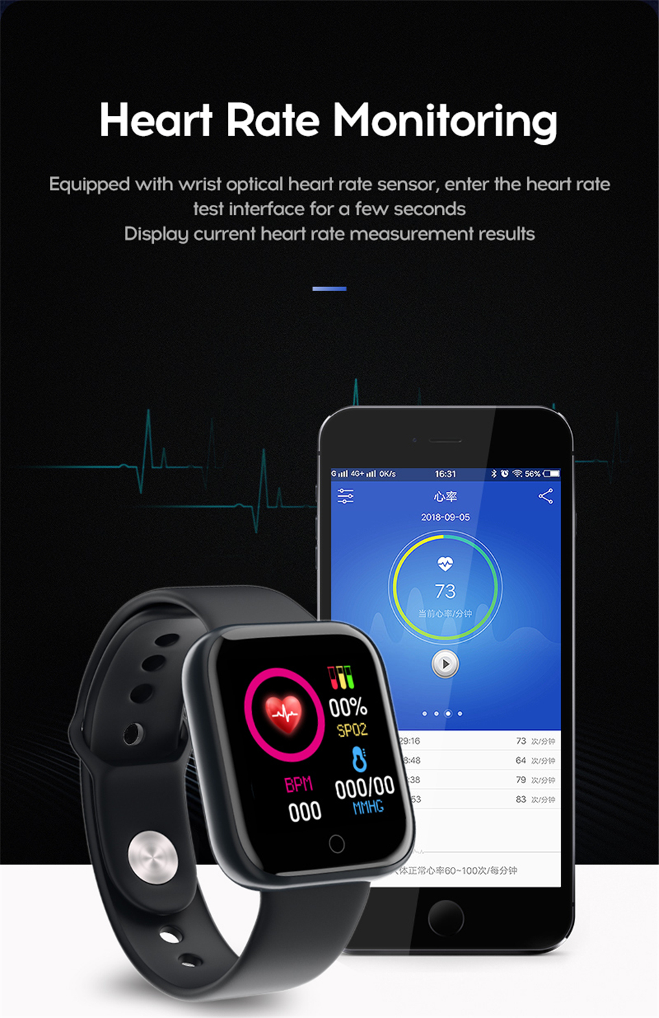 Yuexia Smart Watch Fitness Bracelet Blood Pressure Heart Rate Monitor Waterproof Bluetooth Sport Smartwatch For Android IOS