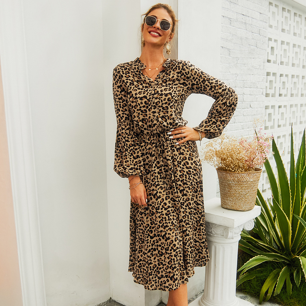 Leopard Print 2020 Summer Fashion Dress Beach Party Long Sleeve Cotton Tea Length Semi Formal Casual Dresses
