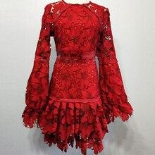 High quality red crochet lace dress mini short dress