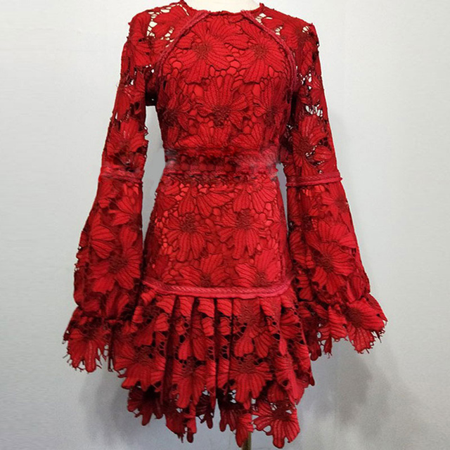 High quality red crochet lace dress mini short dress