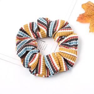 1Pcs Multicolor Striped Knitting Hair Rope Soft Elastic Hair Bands Women Girls Fashion Hair Accessories Rainbow Color Scrunchies