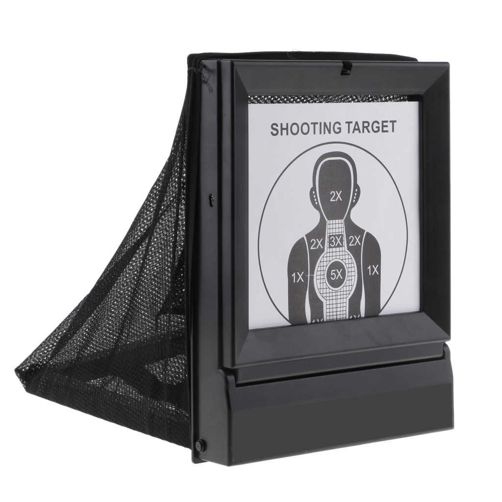 Trampa de pellets y pistola de aire, tiro de Airsoft, acero con papeles para pistola BB/tiro de balas de plástico, entrenamiento reutilizable