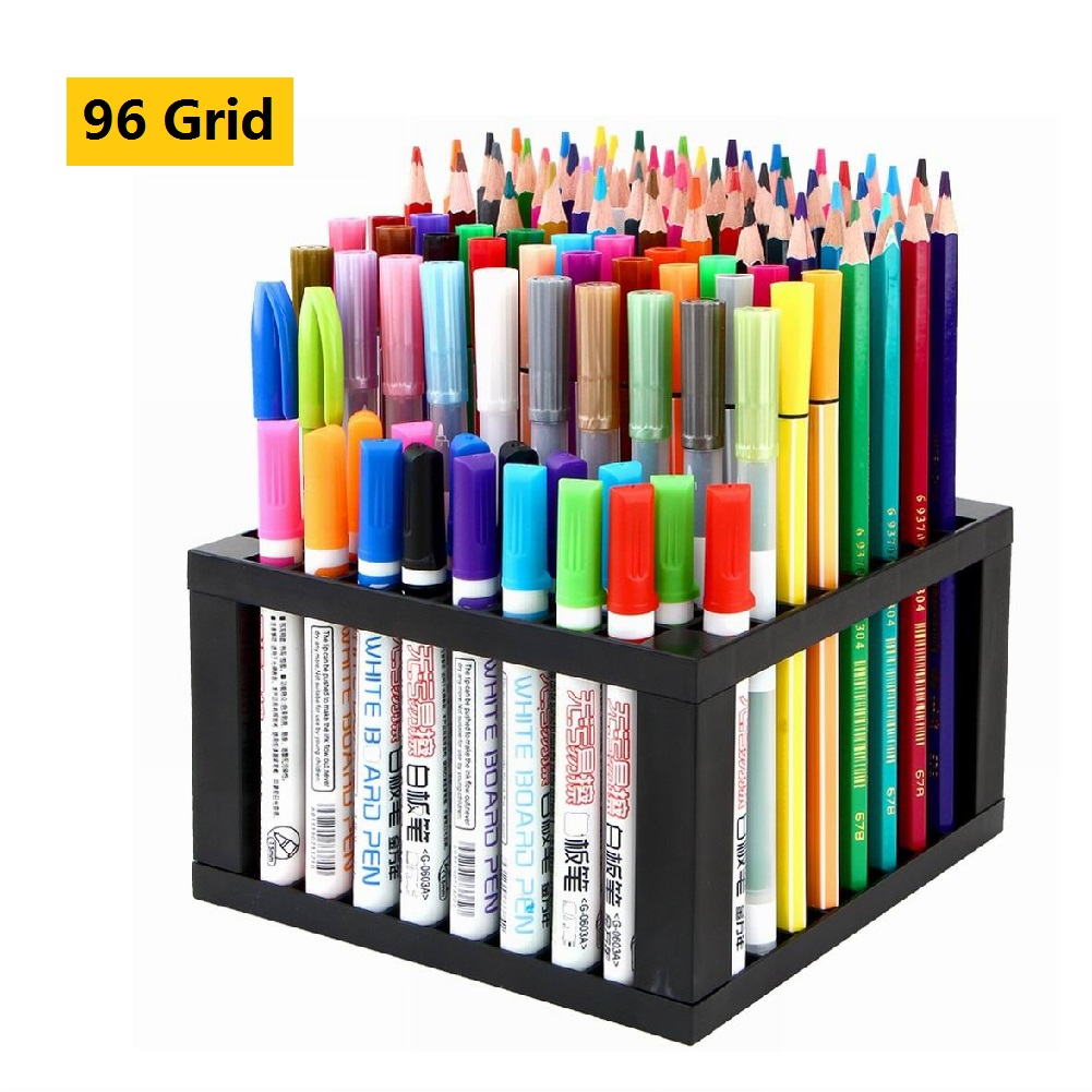 Multi-functional Pen Holder Watercolor Oil Painting Pen Organizer Detachable 96-hole Square Shelf