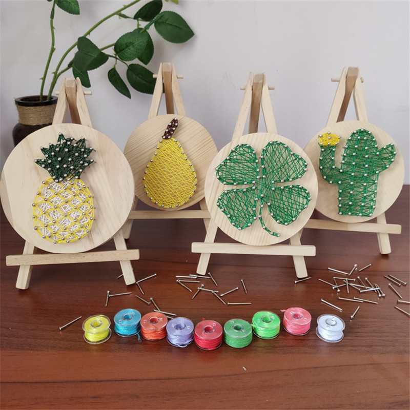 Crafts For Adults Kids Gifts Wood Chip Nail Winding Painting DIY Material Package Manualidades Adultos Creative Toys Bored Games