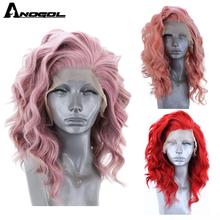 Anogol Korte Natuurlijke Golf Roze Gratis Deel Hoge Temperatuur Fiber Synthetische Lace Front Haar Pruiken Voor Witte Vrouwen