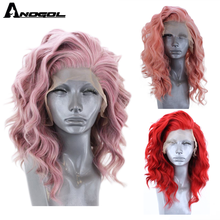 Anogol Short Natural Wave Pink Free Part High Temperature Fiber Synthetic Lace Front Hair Wigs For White Women