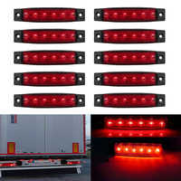10pcs 12V Car External Lights Red 6 SMD LED Auto Truck Lorry Side Marker Indicator Trailer Light Tail Rear Side Lamps