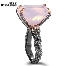 DreamCarnival1989 Big Radiant Cut Zirconia Solitaire Wedding Rings for Women Pink CZ Black Rose Gold Color Dating Gift WA11702