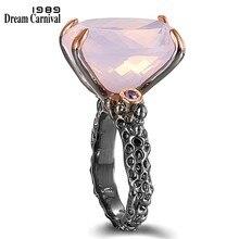 DreamCarnival1989-anillos de boda para mujer, solitario, para cortar la Zirconia, rosa, CZ, Negro, Rosa, dorado, regalo de citas, WA11702