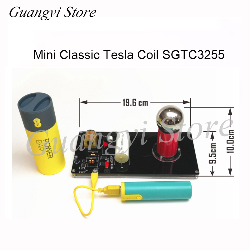 No power supply Super Mini Artificial Lightning Generator Mini Tesla Coil High Conversion Efficiency Scientific