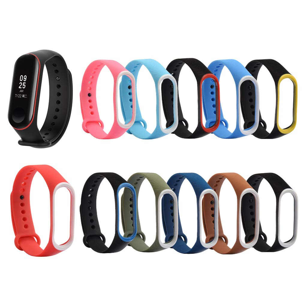 Yayuu Sport Standard Two-tone  Silicone Watch Bands Replacement Wrist Strap For Xiaomi Mi Band 3 4  Adjustable Bracelet