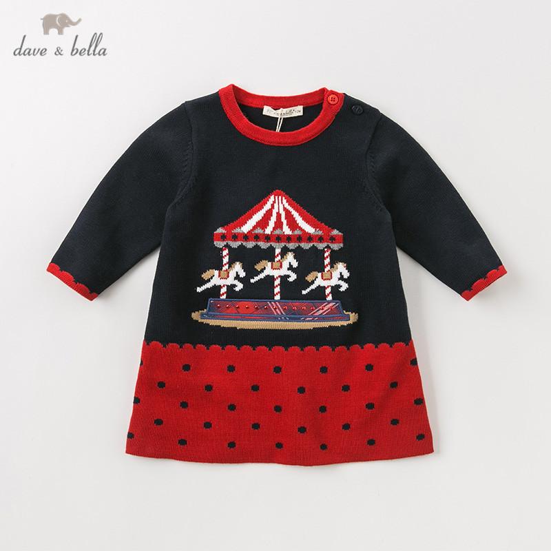 DB11421 dave bella autumn winter baby girl's princess cartoon dots sweater dress children party dress kids infant lolita clothes