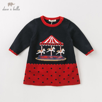 DB11421 dave bella autumn winter baby girl's princess cartoon dots sweater dress children party dress kids infant lolita clothes image