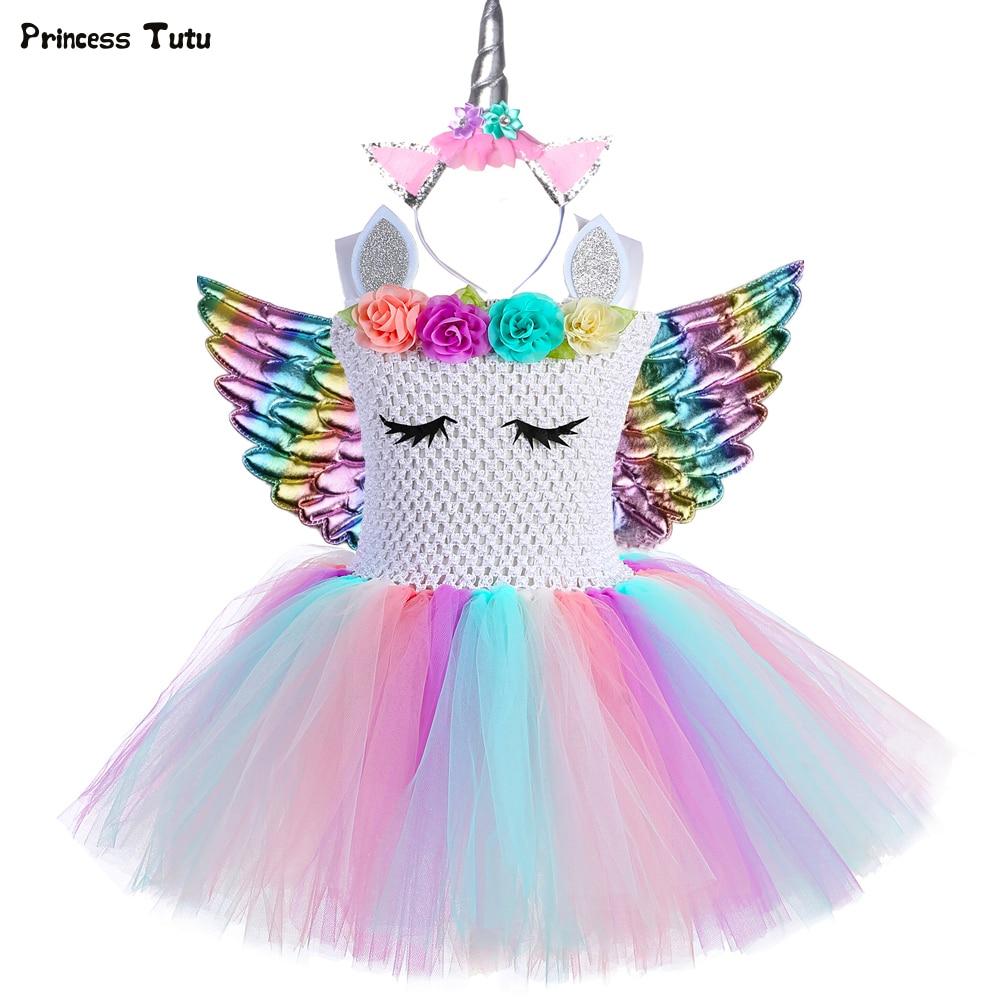 Pastel Girls Unicorn Tutu Dress With Headband Wings Set Outfit Flowers Kids Girls Princess Unicorn Birthday Party Dress Costume