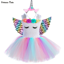 פסטל בנות Unicorn טוטו שמלה עם סרט כנפי סט תלבושת פרחי ילדים בנות נסיכת Unicorn מסיבת יום הולדת שמלת תחפושת