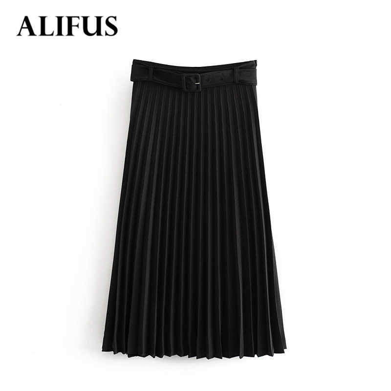 Fashion Za 2019 Women's Skirt High Waist Loose Skirts Black Casual Streetwear Back Zipper Streetwear Warm Winter Skirt