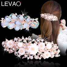 Levao New Rhinestone Flower Hollow Hairpins Colorful Crystal Peacock Hair Clips for Women Pearl Barrettes Spring Clips Headwear