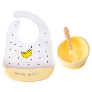 1 conjunto de silicone tigela de alimentação do bebê utensílios de mesa à prova dnon água colher antiderrapante louça bpa livre pratos de silicone para bebê tigela placa de bebê