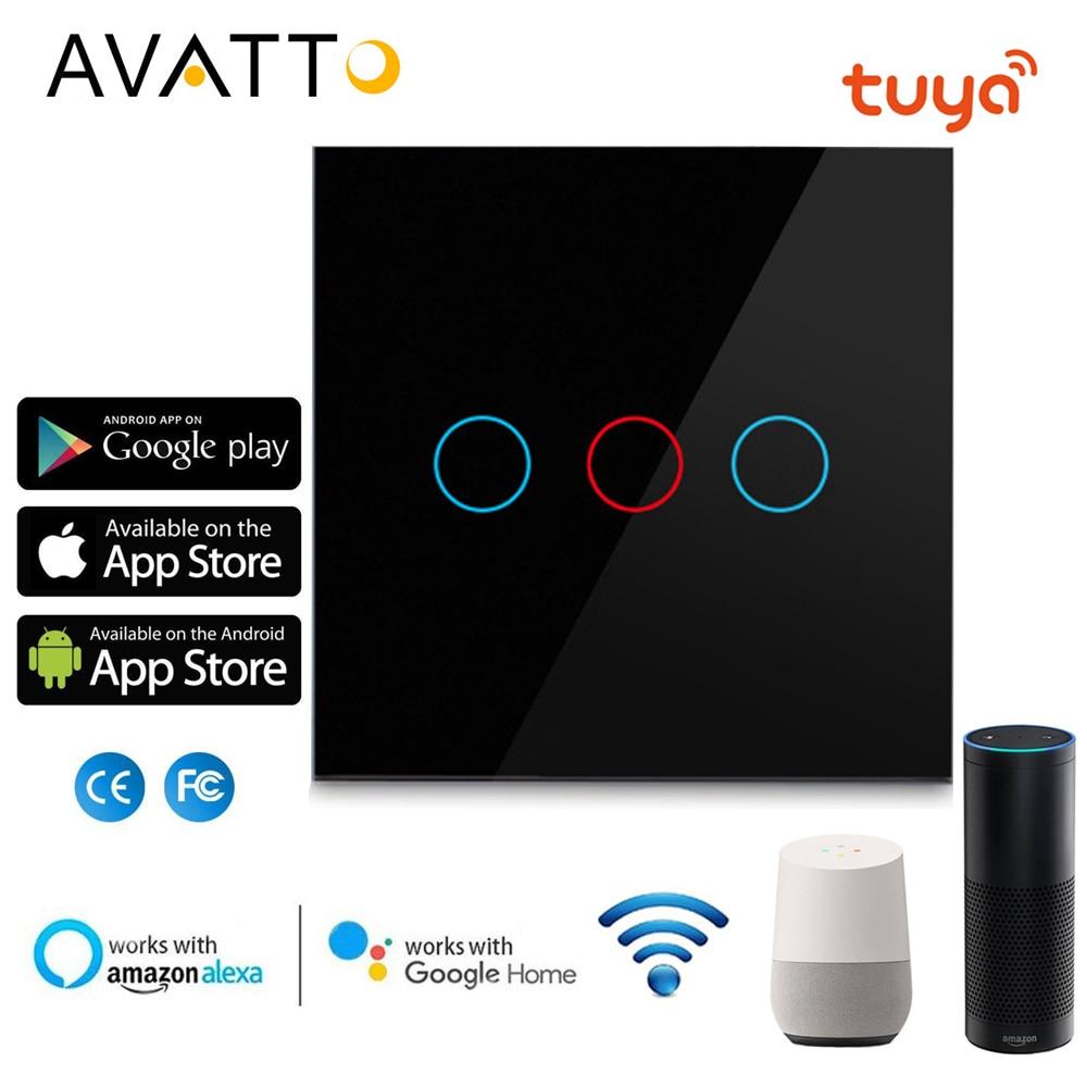 Avatto tuya ue wifi interruptor de parede, interruptor de luz inteligente, painel de vidro toque-sensor interruptor 1/2/3 gang trabalhar com alexa, casa do google
