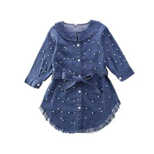 New Toddler Blue Pearl Bowknot Denim Jeans Baby Girl Long Sleeve T-Shirt Dress Kid Coat Clothes