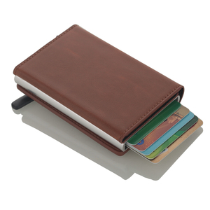 Image 2 - 2020 Multifunction Card holder Wallets PU Leather RFID Credit Card Holders Aluminum Alloy Business ID Bank Card Protector Case