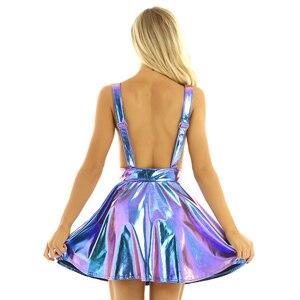 Image 4 - Robe holographique métallique métallique pour femmes, tenue de Festival, tenue brillante, boîte de nuit, danse de chanteur, à bretelles