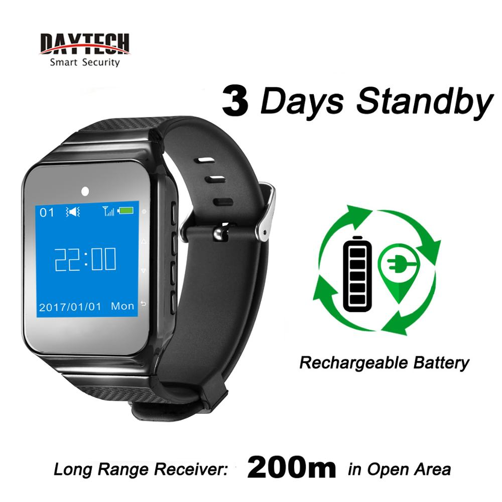 DAYTECH Wireless  Watch Calling Pager System Caregiver Coaster Pager Waiter Queue System Wearable Receiver 433MHZ